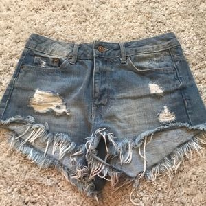 High-Waisted Ripped Jean Shorts